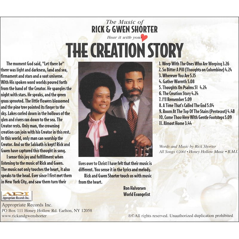 The Creation Story CD Back
