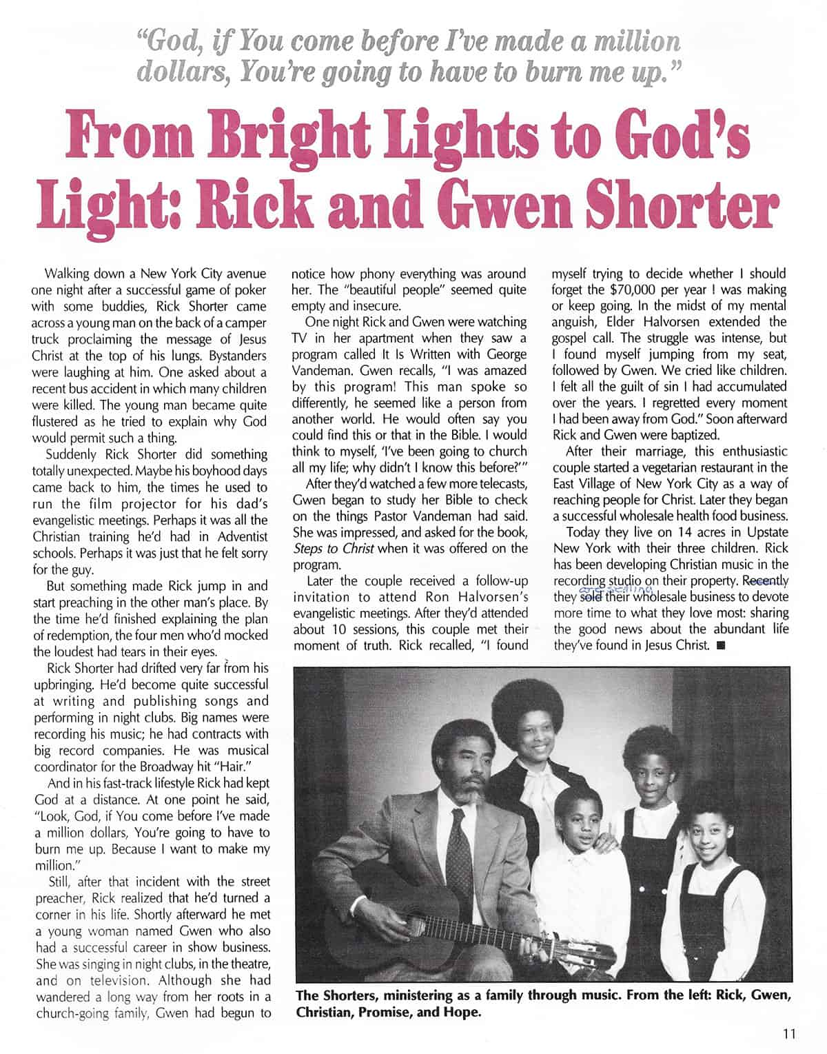 From Bright Lights to God's Light