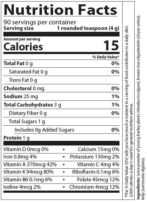 BarleyLife Nutrition Facts