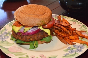 Eggplant Burgers with Baked Sweet Potato Fries
