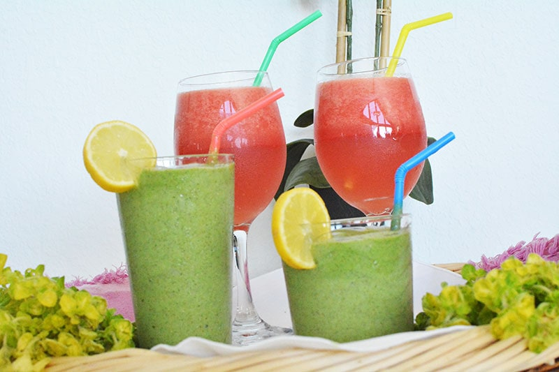 Fresh Green Smoothie and Watermelon Cocktail
