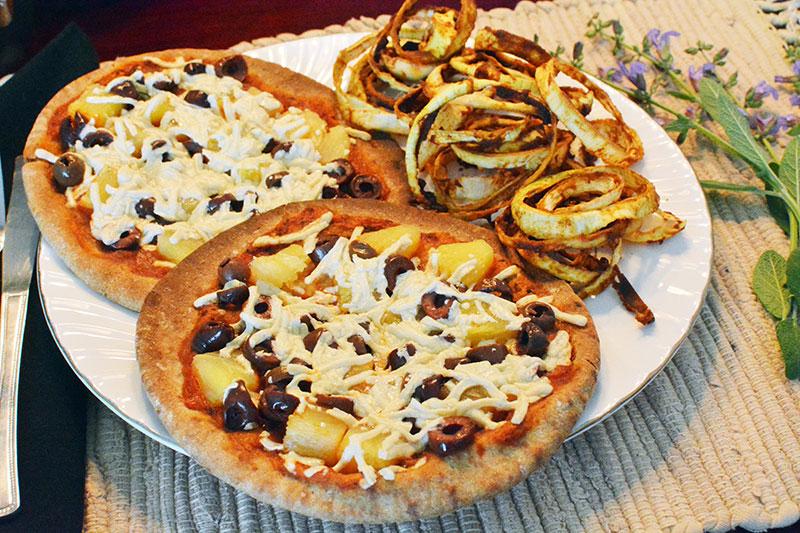 Hawaiian Pita Pizza with Crisp Onion Rings