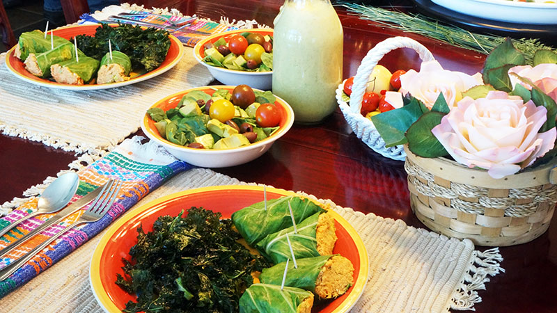 No CA (Cancer) Salad with Creamy Flax Dressing Carrot Tuno Wrap and Kale Krisps