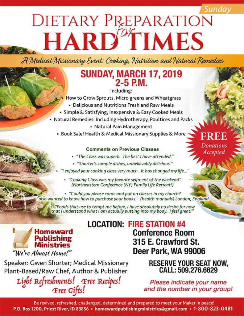 Dietary Preparation for Hard Times - Deer Park Flyer